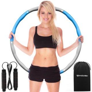 SET: Hula Hoop Reifen Erwachsene + Springseil individuell kürzbar + Tragetasche, Fitnessreifen zum Abnehmen, Fettverbrenner, Sportgeräte zuhause