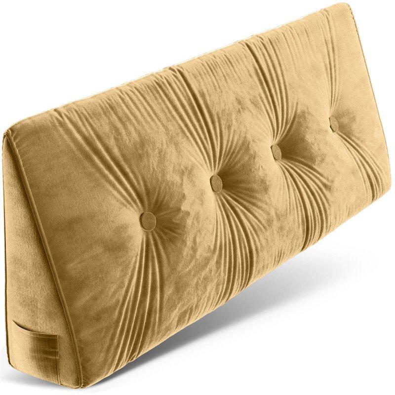 Dreieckiges keilförmiges Rückenkissen, Beige 120 cm, Palettenkissen, Lounge Kissen, ideal als Kopfkissen, Nackenkissen oder Bett Kopfteil Kissen