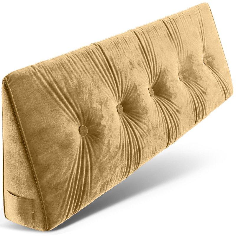 Dreieckiges keilförmiges Rückenkissen, Beige 150 cm, Palettenkissen, Lounge Kissen, ideal als Kopfkissen, Nackenkissen oder Bett Kopfteil Kissen