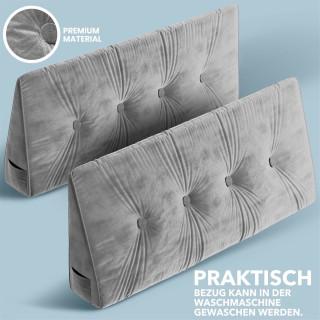 Dreieckiges keilförmiges Rückenkissen, Hellgrau 150 cm, Palettenkissen, Lounge Kissen, ideal als Kopfkissen, Nackenkissen oder Bett Kopfteil Kissen