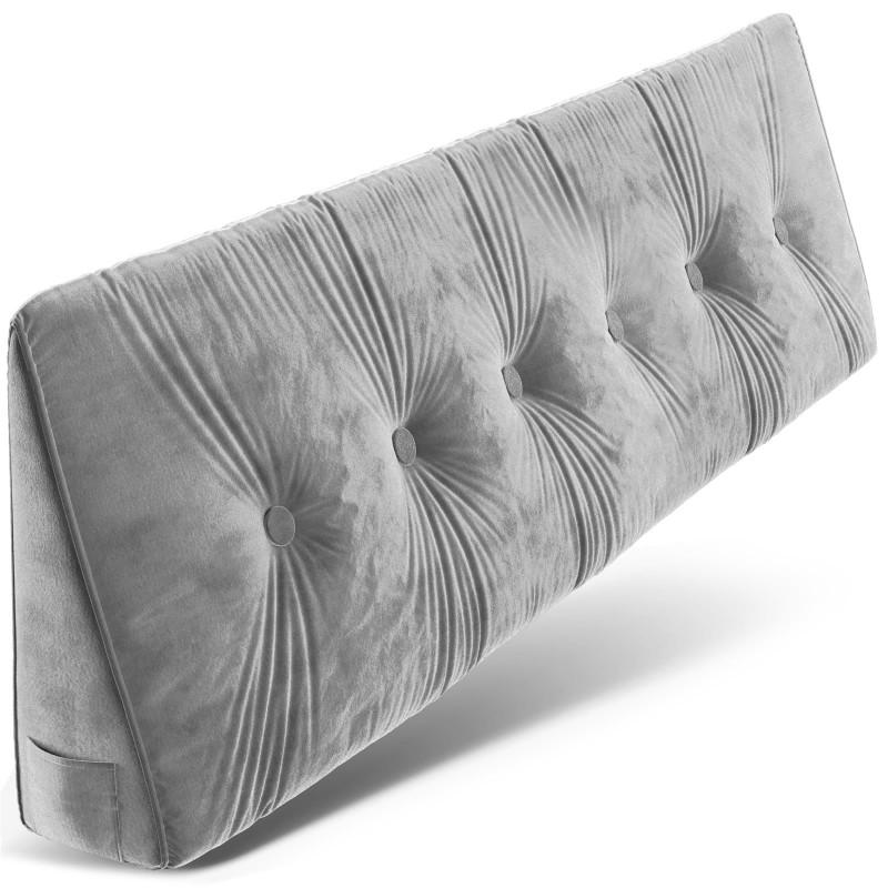 Dreieckiges keilförmiges Rückenkissen, Hellgrau 180 cm, Palettenkissen, Lounge Kissen, ideal als Kopfkissen, Nackenkissen oder Bett Kopfteil Kissen