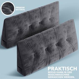 Dreieckiges keilförmiges Rückenkissen, Dunkelgrau 120 cm Palettenkissen, Lounge Kissen, ideal als Kopfkissen, Nackenkissen oder Bett Kopfteil Kissen