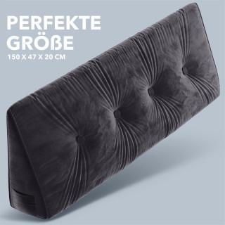 Dreieckiges keilförmiges Rückenkissen, Dunkelgrau 150 cm. Palettenkissen, Lounge Kissen, ideal als Kopfkissen, Nackenkissen oder Bett Kopfteil Kissen