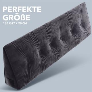 Dreieckiges keilförmiges Rückenkissen, Dunkelgrau 180 cm, Palettenkissen, Lounge Kissen, ideal als Kopfkissen, Nackenkissen oder Bett Kopfteil Kissen