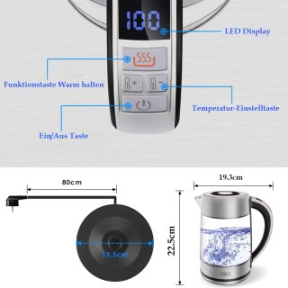 Wasserkocher Temperatureinstellung Glas Edelstahl Teesieb Teekanne Küchengerät LED licht Teekocher BPA Frei Thermometer innen Auto Trinkwasserkocher Teemaschine Temperaturanzeige Temperaturregler